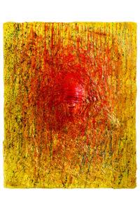 """L'opera d'arte intitolata """"L'uomo che non vede"""" è realizzata con gesso, pigmenti naturali e acrilico su tela dallo scultore Cesare Catania"""