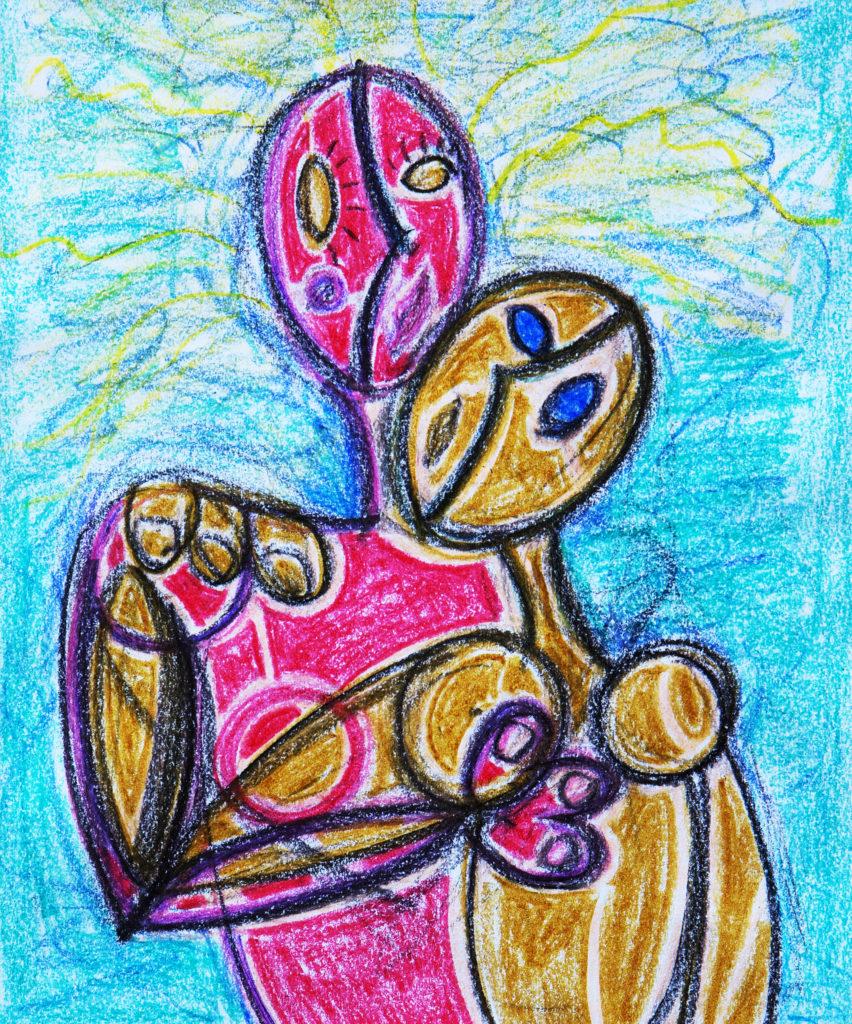 拥抱 - 当代艺术家 凯撒·卡塔尼亚 的 当代艺术 画作