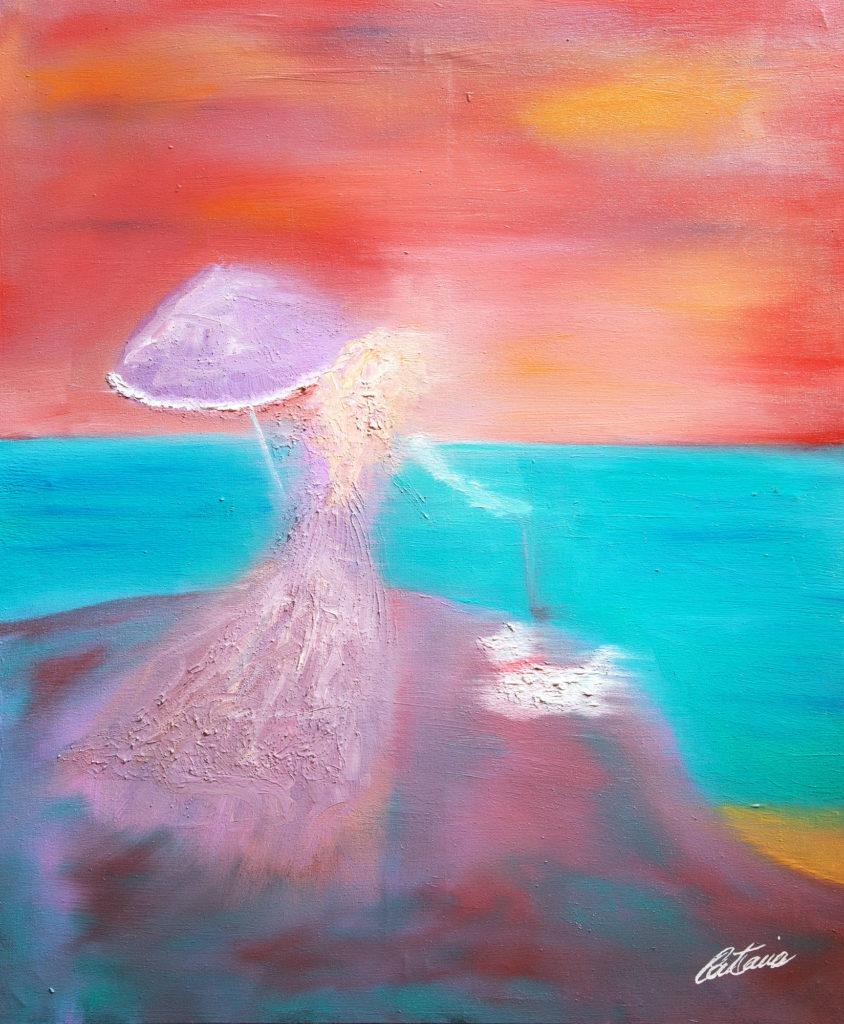 悬崖边的女人 - 当代艺术家 凯撒·卡塔尼亚 的 当代艺术 画作