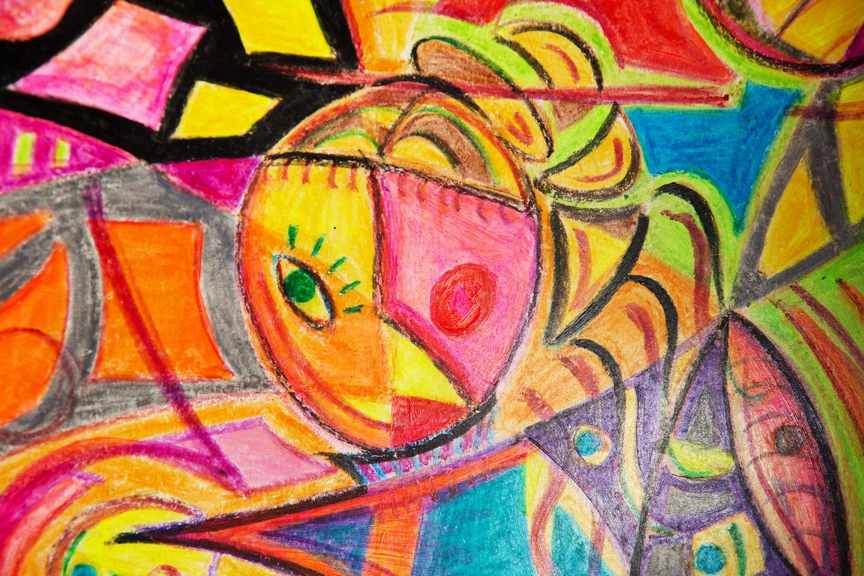"""Scopri """"Donna con libro"""", un dipinto di arte contemporanea realizzato dal pittore Cesare Catania con pastello a cera e acrilico su carta."""