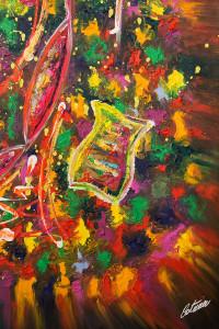 """""""La Violinista di Barcellona"""" è un dipinto olio e acrilico su tela realizzato dall'artista contemporaneo Cesare Catania."""