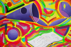 """Decouvrez l'oeuvre d'art contemporain """" Lectures d'été """" par Cesare Catania. Peinture l'huile et acrylique sur toile hommage à Pier Luigi Nervi."""