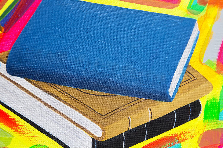 """Dipinto di arte contemporanea olio e acrilico su tela intitolato """" Letture Estive """" realizzato da Cesare Catania: Entra e scopri i dettagli dell'opera."""