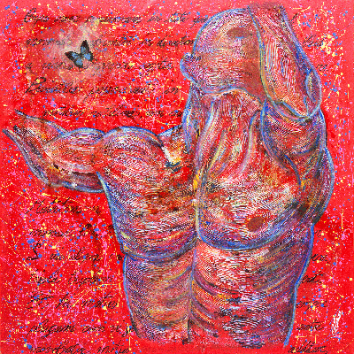 """the """"Selfportrait"""" is a contemporary painting made by the Artist Cesare Catania. It's made by oil paintings, acrylics and resins on canvas."""