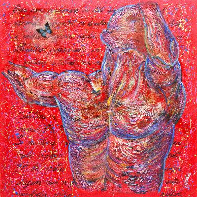 """Le Autoportrait"" par Cesare Catania est une peinture réalisée à l'huile, acrylique et résine sur toile-"