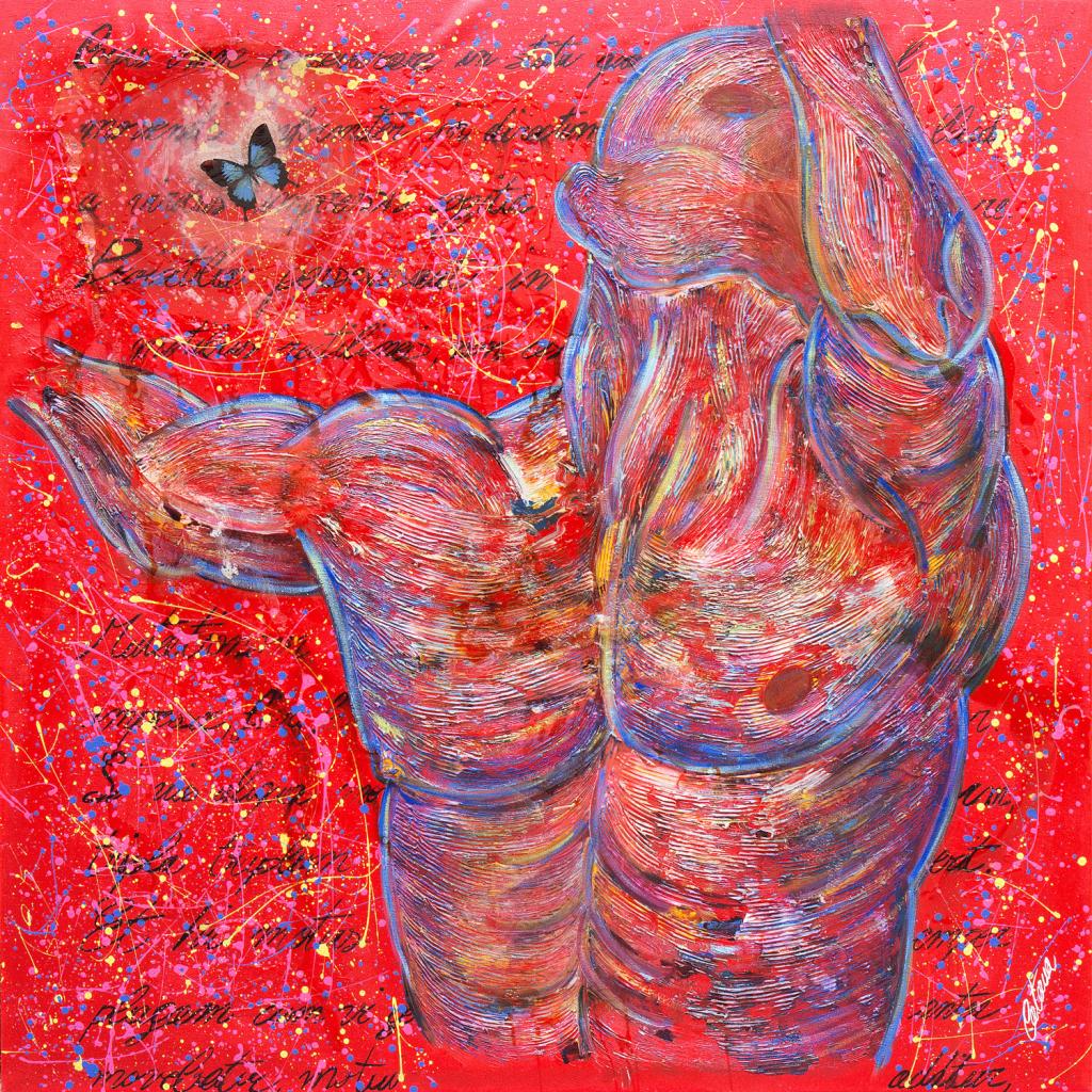 """""""L'Autoritratto (Omaggio a Newton e a Michelangelo) """" è un dipinto di arte contemporanea realizzato dall'artista, pittore e scultore Cesare Catania"""