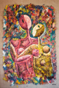 """The Embrace"" is a contemporary art tepestry made by artist, painter and sculptor Cesare Catania"