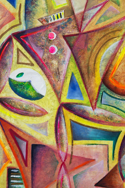 """""""Gli Arlecchini"""" è un opera di arte contemporanea realizzata ad olio su tela dall'artista, pittore e scultore Cesare Catania. Si tratta di un arazzo appartenente al cubismo e all'arte informale."""