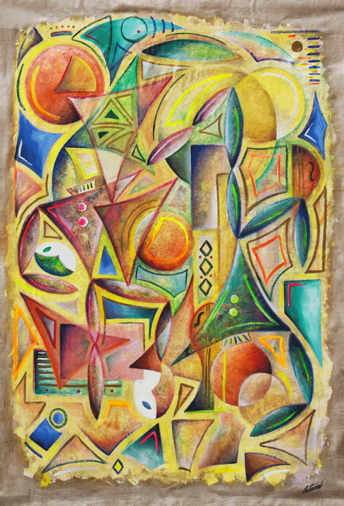 The Harlequins (C Version) is a contemporary art tapestry made by the italian painter and sculptor Cesare Catania. It's a mix of cubism and informal art.