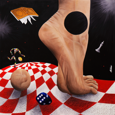 Halequin in the land of Giants is a contemporary art painting made by the italian artist Cesare Catania oil on canvas.