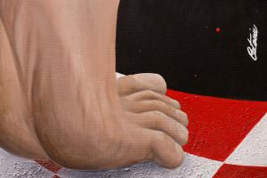 Découvrez les détails de l'oeuvre d'art contemporain « Harlequin dans la Terre des Géants » réalisé par Cesare Catania. Surréalisme et hyperréalisme.