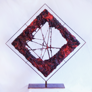 "The sculpture "" The Mouth of Etna "" E Version is the first works of art for colour blindness. Made by Cesare Catania in silicon, acrylic and steel."