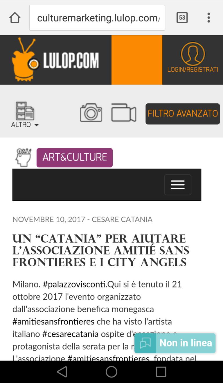 Cesare Catania aiuta l'associazione monegasca amities sans frontieres donando un quadro in beneficienza