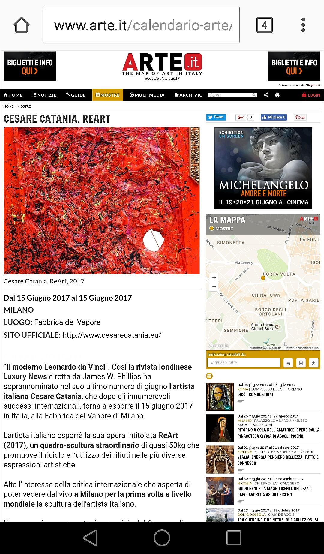 Cesare Catania espone al museo di arte contemporanea - la Fabbrica del Vapore a Milano