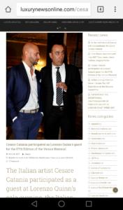 Cesare Catania partecipa alla Biennale di Venezia 2017 come ospite di Lorenzo Quinn