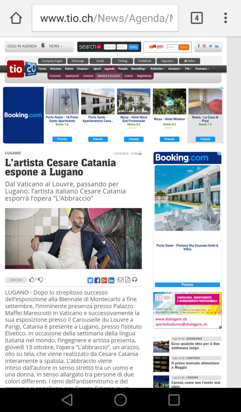 Articolo uscito su TIO.ch e riguardante l'artista contemporaneo Cesare Catania