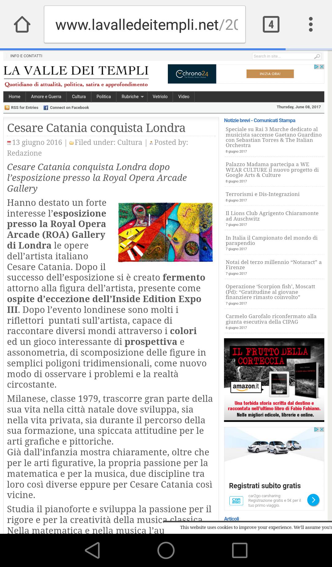 Cesare Catania espone a Londra e conquista la critica internazionale