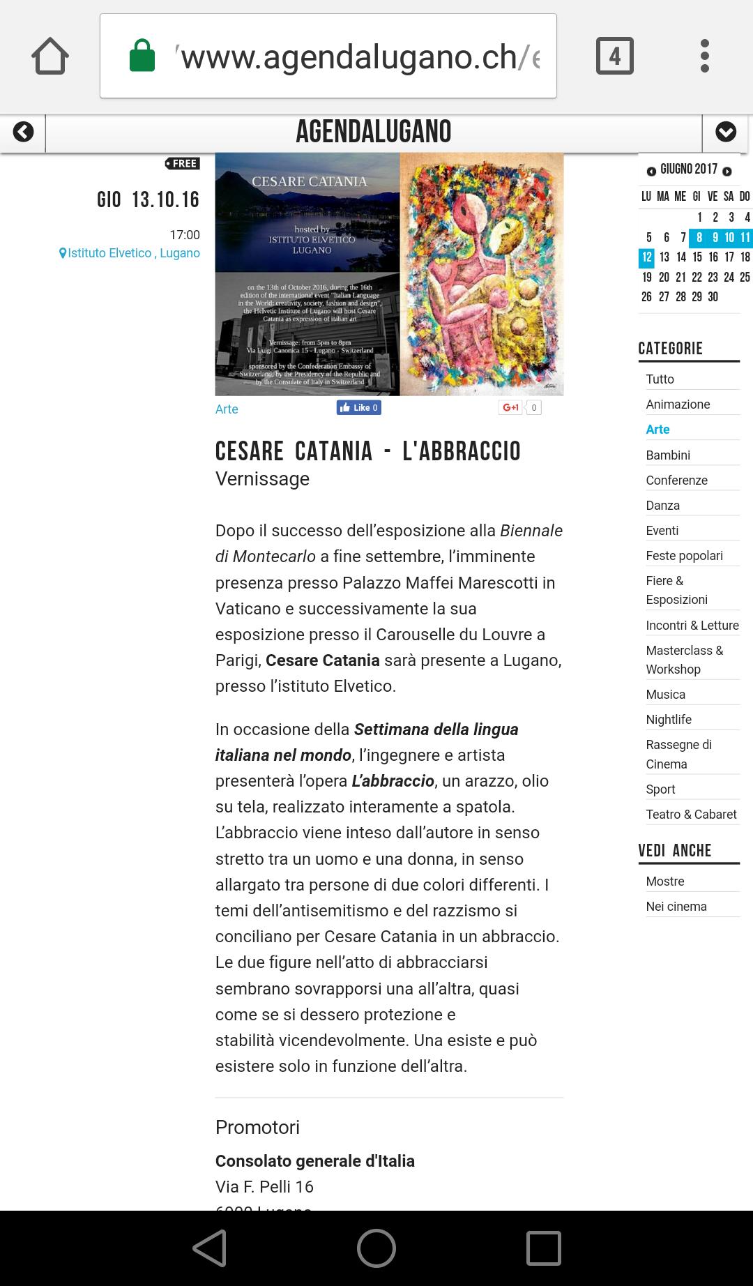 Cesare Catania espone a Lugano