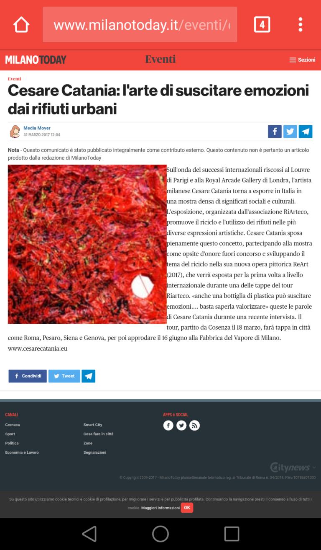 Articoli sulla presenza di Cesare Catania alla mostra d arte contemporanea al museo della fabbrica del Vapore come Ospite d'Onore