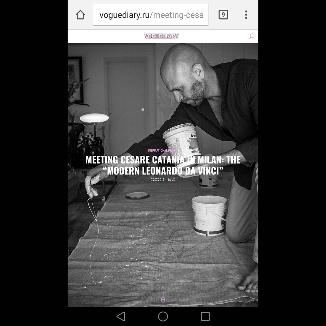 Articolo su Cesare Catania da parte della rivista Vogue Diary