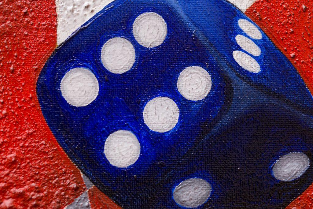 Arlecchino nella terra dei Giganti - Dipinto olio su tela del pittore Cesare Catania