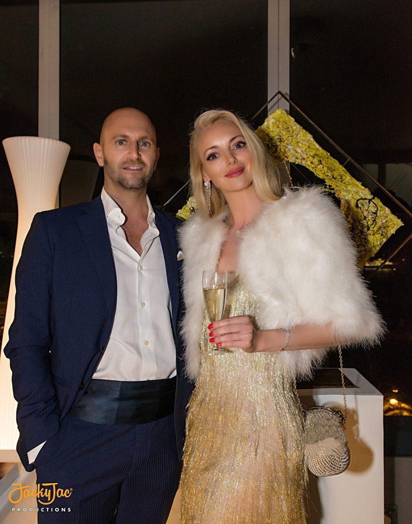 戛纳电影节盛大晚会上,凯撒‧卡塔 尼亚(Cesare Catania)与阿纳斯塔西娅·弗鲁列夫斯卡娅(Anastasiya Vrublevskaya)
