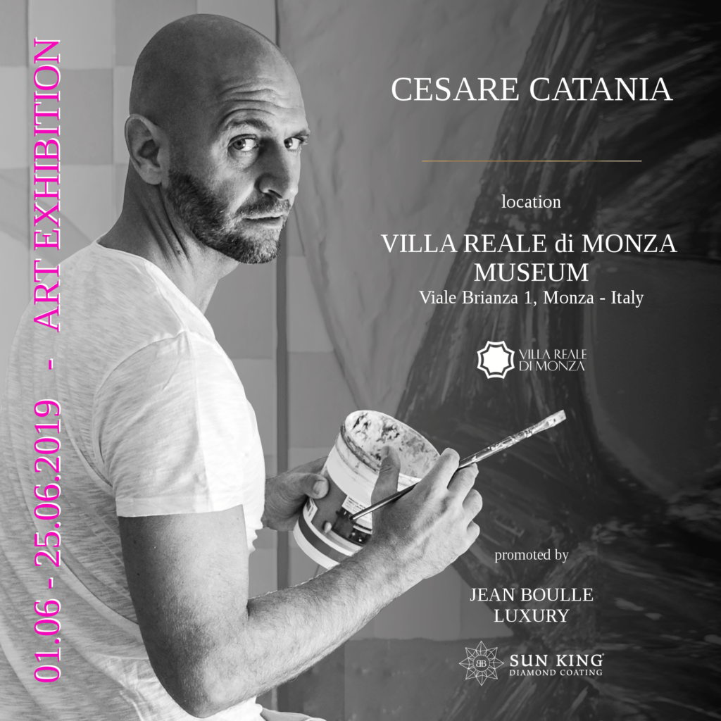 Locandina della mostra di arte contemporanea di Cesare Catania al museo della Villa Reale di Monza